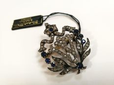 Antique brooch with rosette cut diamonds and blue sapphires