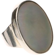 925 silver ring set with Mother of pearl - Ring size: 19.75 mm