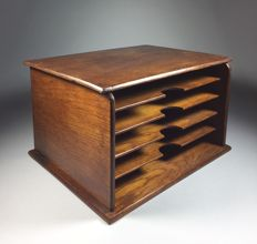 Oak file cabinet with five compartments, France, ca. 1920