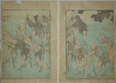 "Originele tweeluik houtsnede in pastel tinten van Katsushika Hokusai (1760-1849) - ""Blind Men Crossing River"" - Japan - 1849"
