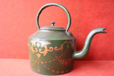 Large iron pot - hand painted - Portugal ca1900