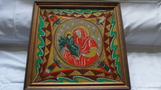 Reverse glass painting of Mary with Child, Yugoslavia, 1984