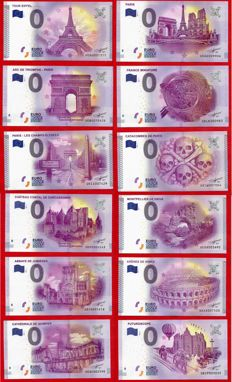 France - Special collector's collection of 12 banknotes of €0, Euro Souvenir + Deluxe album - Years 2015-2017