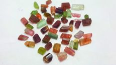 Very nice multicolor tourmaline crystals mix.  L 5-12mm,,W 3-7mm.  75 ct.