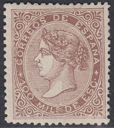 Spain, 1868 - Isabel II 100 m - hazelnut brown - Edifil 99