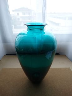 Effetre International - large blue signed vase (36 cm)