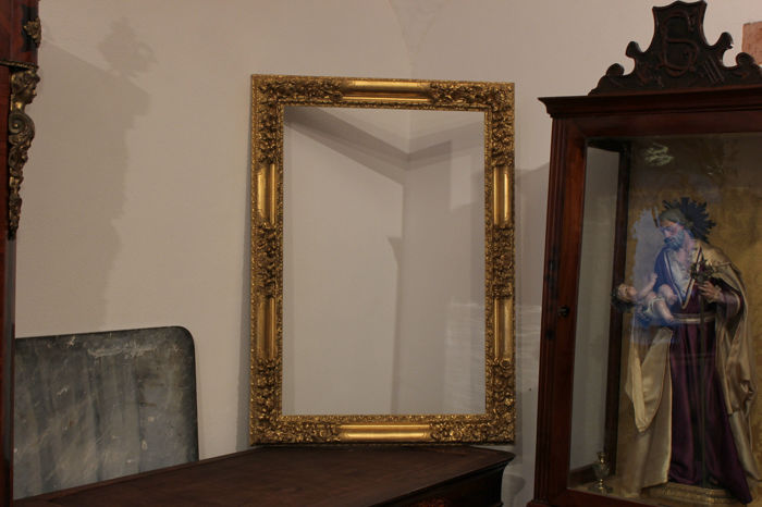 French Carved and Gilded Wooden Golden Frame, period 18th century.