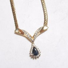 """1.14 ct Gold pendant with necklace with natural blue sapphire diamonds """"No reserve"""""""
