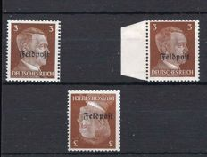 German Empire field post 1945 Ruhr Pocket, Michel no. 17x, 17z and 17zK with documentation, tested