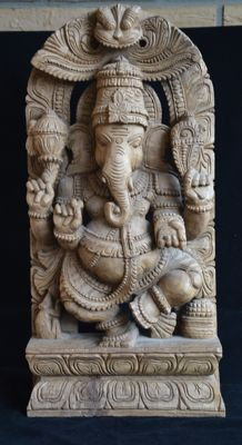 Large woodcarving of Ganesha - India - Late 20th century (61 cm)