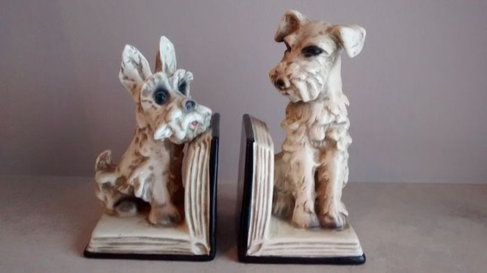 Pair of vintage Goebel porcelain terrier bookends