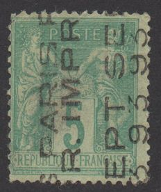 France 1893 - Sage 5c green, surcharge on 5 lines, signed and with Calves certificate - Yvert precancelled no. 15