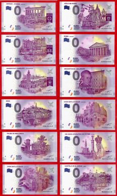 France - Special collector's collection of 12 banknotes of €0, Euro Souvenir European Cities + Deluxe album - Years 2016-2017