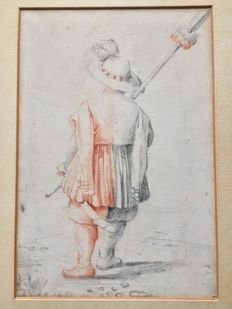 A red and black chalk drawing on paper of an arquebusier in 17th century style, circa 1900