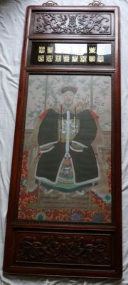 Large framed painting, Chinese dignitary - China - 19th century