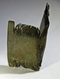 Viking, Bronze ornate hair comb with comb pins that have never been cleaned