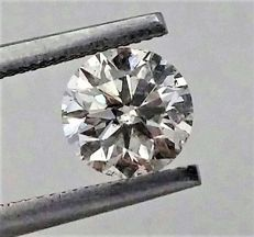 Round Brilliant Cut  - 1.07 carat  - E color  - VS2 clarity  - 3 x EX - Natural Diamond  - With AIG Big Certificate + Laser Inscription On Girdle