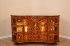 A Baroque walnut parquetry commode, Austria, ca. 1750