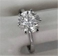 3.07 ct - F color - Diamond Ring - Solitaire - 14K White Gold  - size :  58, 18.5 mm , 8.5 ( USA ) - IGL Certified.