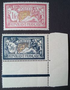 France 1900 – Merson, selection of 2 stamps- Yvert no. 121 and 123a.