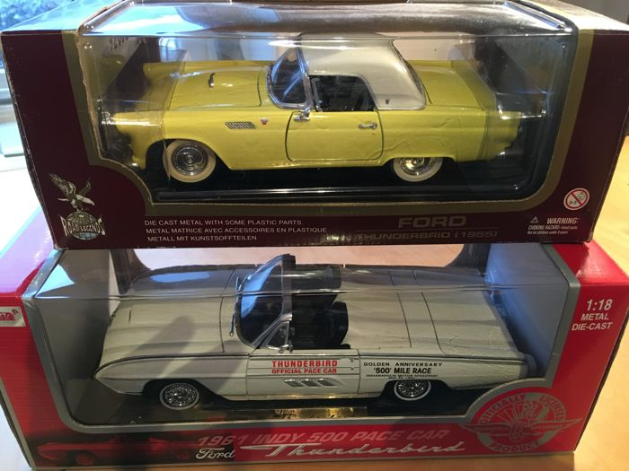 Anson / Road Legends - Scale 1/18 - Ford Thunderbird 1961 Pace Car 1961 - Wit and Ford Thunderbird 1955 - Yellow
