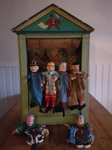 Antique puppet / theatre + dolls - presumably France