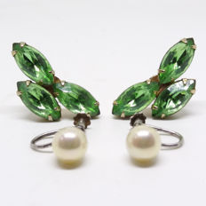 1940s pairs of genuine cultured Pearl screw back earrings and 1940s facetted emerald green Czech Glass screw back earrings.