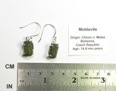 Moldavite earrings - 925 sterling silver