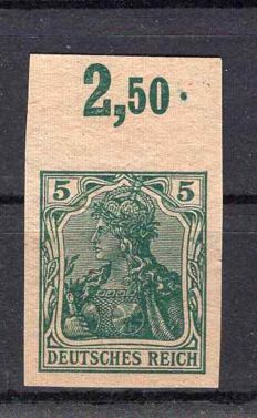 German Empire/Reich 1902 Germania 5 Pf. Proof from upper edge.