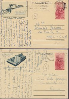 Kingdom of Italy and Republic of Italy, 1855-1968 - Lot of 105 pieces including 57 used envelopes, registered mail and postcards and over 18 stamp duties of the Kingdom of Italy and 30 levies from the Region of Puglia.