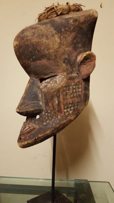 Old polychrome African helmet mask - KETE - Congo