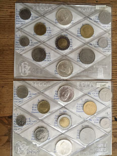 """Republic of Italy - Divisional series from 1987 and 1988 """"Don Bosco"""" including 4 silver coins"""