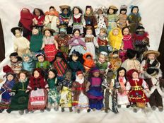Collection of 41 world porcelain dolls in the traditional costumes of each country