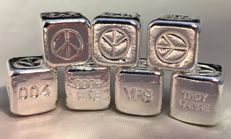 USA:  YPS Yeager's Poured Silver - 7 x 1 oz silver peace cubes