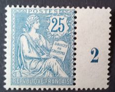 France 1902 – Mouchon, retouched, 25 c. Blue – Yvert no. 127.