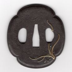 Iron tsuba, Brass inlay - Japan - 18th/19th century