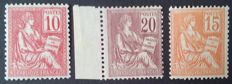 France 1901 – Mouchon, selection of 3 stamps – Yvert no. 112, 113 and 117.