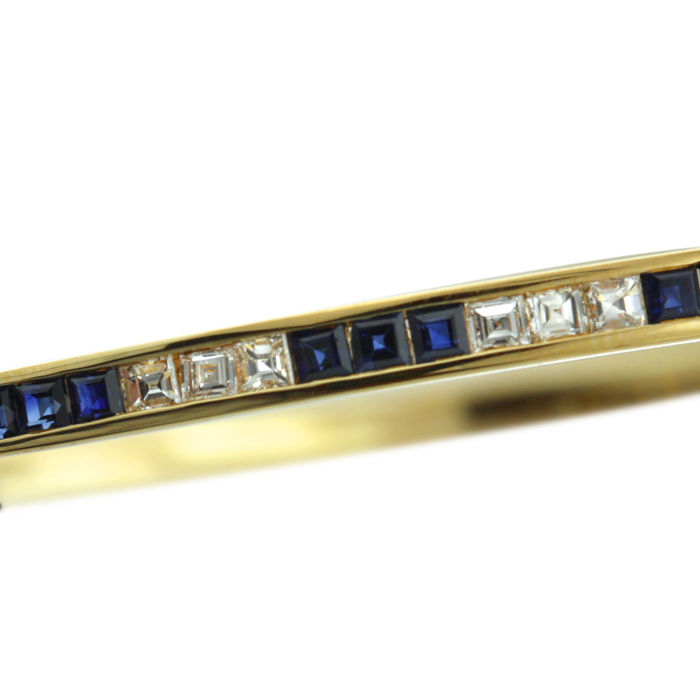 Diamond (0.60ct) and Sapphire Bangle in Mint Condition.