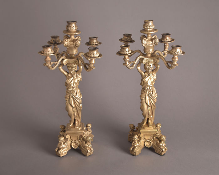 Two large 20th century Louis XIV-style bronze five-armed candelabras with image of Greek goddess