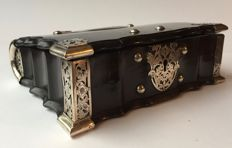 Property of a Lady. A fine Colonial ebony and silver mounted casket, Ceylon, last quarter 18th century