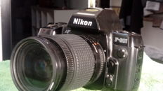 Nikon f 801 with multi control mf 21 back + Nikkor 28/80 with UV filter