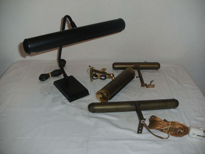 Three picture lamps and matching desk lamp - French origin - last century