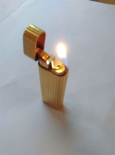 Authentic gold plated Cartier Paris lighter - working