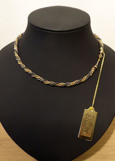 Grosse© Germany - Twisted choker - yellow gold plated and anthracite/grey - 40 cm