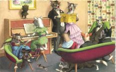 Dressed animals 61 x - Mostly cats with many of Illustrator Alfred Mainzer - 1930/1960