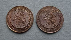 The Netherlands - 2½ cent 1877 and 1884 Willem III (2 pieces) - bronze