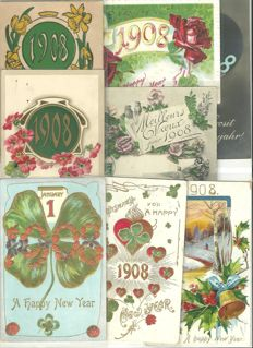 Lot of 40 greetings cards - Happy New Year 1908