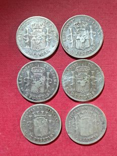 Spain - Provisional Government 2 pesetas, years 1869, 1881, 1882, 1184, Silver - 6 coins