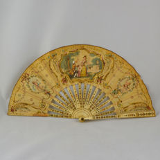 Hand Painted on Silk and bone French Fan – 19th Century – Signed Duvelleroy
