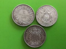 France - 5 Francs 1852A, 1855A, 1869BB (lot of 3 coins) - Napoleon III - silver